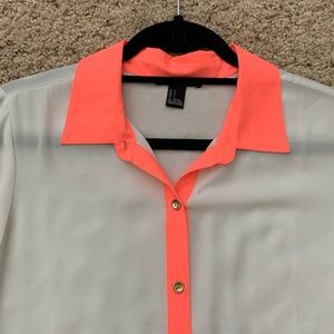 Forever 21 White Blouse w/Hot Pink Accent